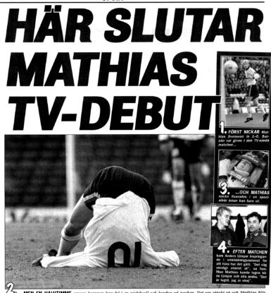 Bild på Mathias Svensson från hans första tv-sända match